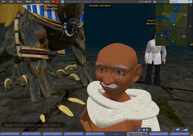 Mgandhi S March In Second Life Joseph Delappe